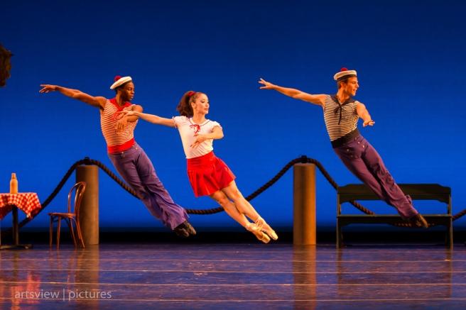 Eugene C. Barnes III, Jan Burkhard and Adam Schiffer in A La Francaix, choreography by George Balanchine