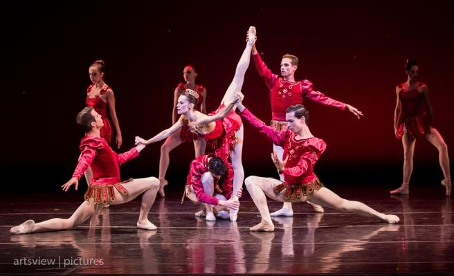 Lara O'Brien, Adam Schiffer, Zalman Raffael, Adam Crawford Chavis, and Yevgeny Shlapko in Rubies, choreography by George Balanchine