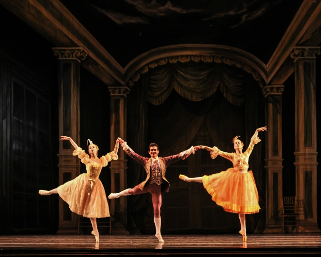 Alicia Fabry, Randi Osetek and Sokvanarra Sar as Cinderella's stepsisters and the Prince's brother the Grand Duke, choreography by Robert Weiss